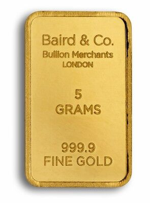 5g Baird and Co Gold Bar Fine Gold Bar Bullion 999.9