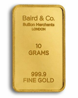 10g Baird and Co Gold Bar Fine Gold Bar Bullion 999.9