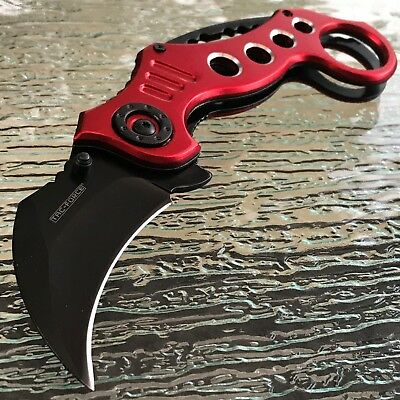 """7.75"""" RED Spring Assisted Tactical KARAMBIT CLAW BLACK BLADE Knife Open Switch"""