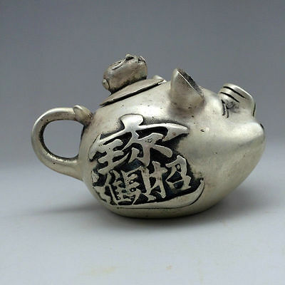 Exquisite Chinese Miao Silver Handwork Carved fish Teapot