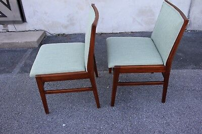 Pair of Modern Teakwood Side Chairs, New Upholstery