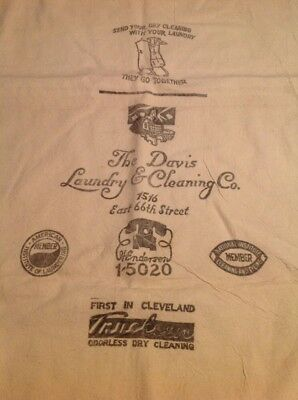The Davis Laundry & Cleaning Co. Cleveland Oh Vintage Laundry Bag Advertising