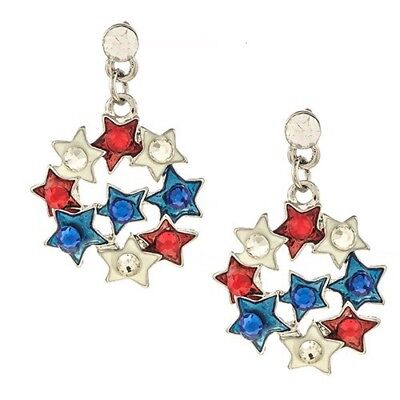 Patriotic 4Th Of July Red White Blue Rhinestone Silvertone Star Cluster Earrings