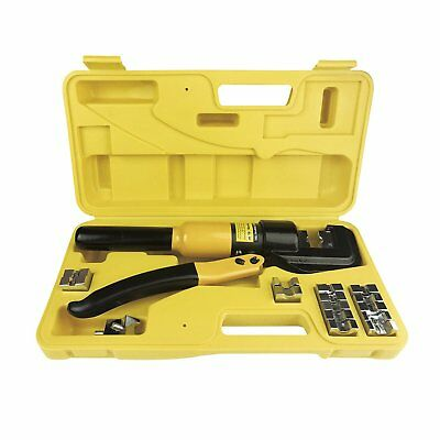 10 Tons Hydraulic Wire Battery Cable Lug Terminal Crimper Crimping Tool W/Dies