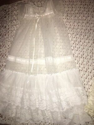 Infant Lace Christening Gown White Baptism Birthday Dress With Silky Slipdress