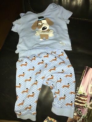Peter Alexander Baby Set Baby Blue Dogs Size 000 3-6months