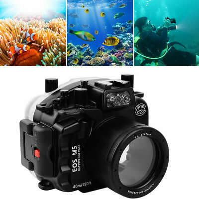 SeaFrogs 40m/130ft Underwater Waterproof Housing Case For Canon EOS M5 18-55mm