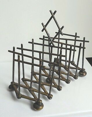 Rare Antique Silverplated Expandable Toast Rack Style Of Christopher Dresser