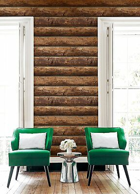 Rustic Stacked Log Cabin Wallpaper Brown