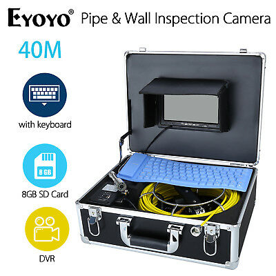 """HD 7"""" 40M Pipe Pipeline Drain Inspection Sewer 8GB Camera Recording w/ Keyboard"""