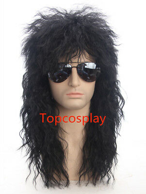 80s Wig for Men Black Curly Costumes Wigs Rocker Disco Punk Mullet Wig Mens Wigs