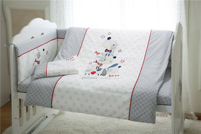 7pcs Baby Kid Crib Bedding set Bumpers Quilt Pillow Cot Sheet Soft Cotton Unisex