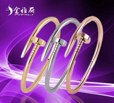 Womens Nail Bracelet Bangle Screwdriver Stainless Steel Screw Cuff Silver Goldㅆお