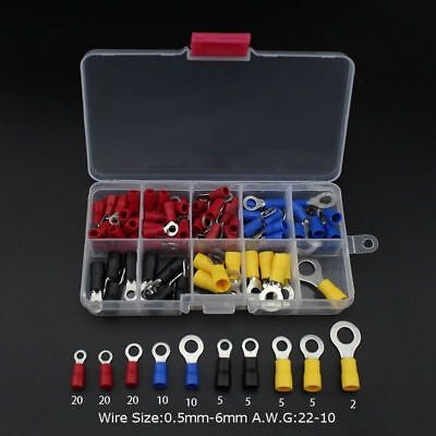 102pcs Insulated Copper Ring Crimp Wire Terminal Connector Assorted Kit with Box