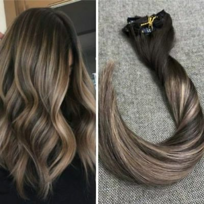 Balayage Ombre Chocolate Brown To Ash Blonde Brown Clip In Human
