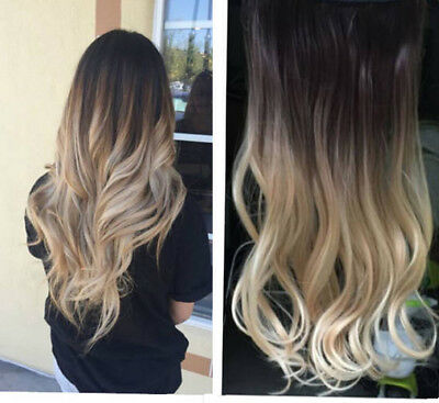Ombre Brown Balayage Ash Blonde Clips In Remy Human Hair