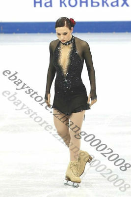 Ice skating dress.Black Competition figure skating dress with stunning crystals