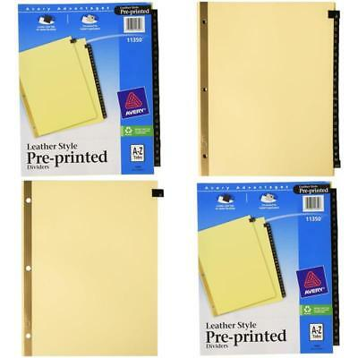 25 Sheets 3 Ring Binder Divider Tabs Pre-Printed Leather Alphabet Letters A to Z