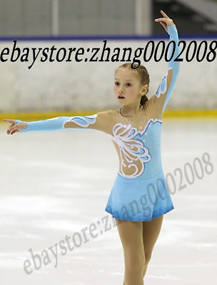 Ice/Figure skating dress.Blue Competition Rhythmic Gymnastics dance costume