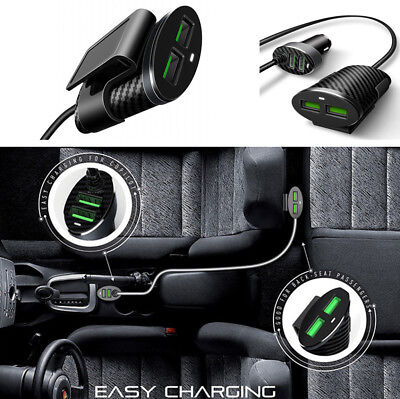 4 Ports 5.1A USB Carbon Fiber Pattern Car Phone Charger with 1.2M Cable 12-24V