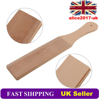 UK Wooden Handle Leather Polish Strop Sharpener Razor Kitchen Sharpening Tool