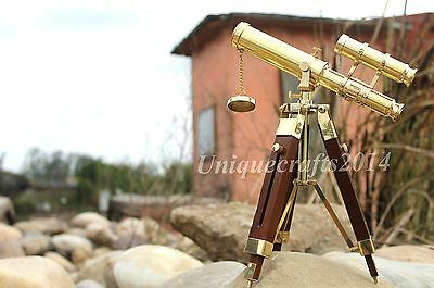 Solid Brass Double Barrel Telescope With Wooden Tripod Stand Ceollectable Item.