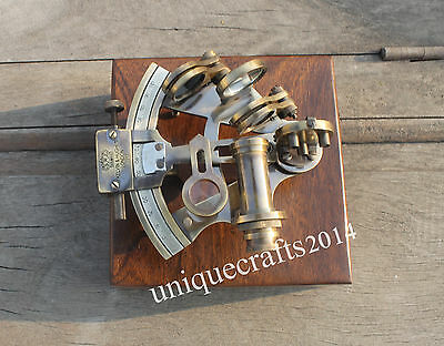 Handmade Brass Nautical Sextant With Box Maritime Royal Navy Working Instrument.