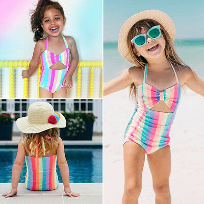US Rainbow Toddler Kid Baby Girl Swimsuit Bikini Swimwear Bathing Suit Beachwear