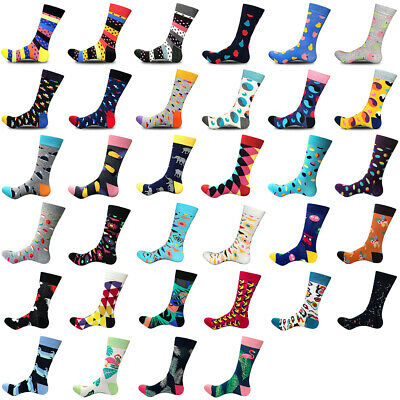 1 Pair Men's Cotton Crew Socks Warm Colorful Patterned Funny Dress Casual Socks