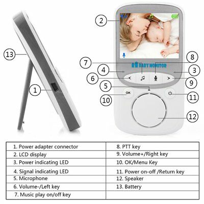 VB605 Wireless Digital LCD Color Baby Monitor Audio Video Night Vision Camera SC