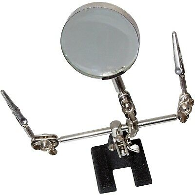 Soldering Iron Stand Helping Hand Magnifying Glass & Crocodile Clips 60mm