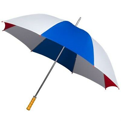 Big Golf Umbrella Extra Strong Double Ribs - Wooden Handle - Red White Blue