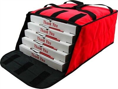 "Case of 5 Pizza Bags (Holds 4-5 16"" or 18"" pizzas) Red."