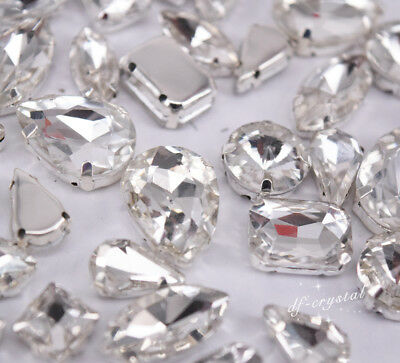 Mixed Shapes Sizes Crystal Clear Rhinestone Settings Sew On Crystals Glass