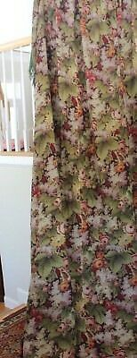"Antique French Floral Wool Chalis Curtain Panel C1850-1860~3yds12""LX31""W"