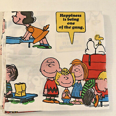 Vtg 1971 Peanuts Charlie Brown Snoopy Happiness Is Twin Flat Sheet Fabric Cutter