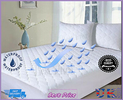 Waterproof Quilted Mattress Protector Non Allergic Bed Cover 10 Sizes Available