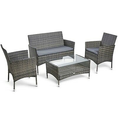 Grey Rattan Garden Furniture Uk Vonhaus 4 piece rattan garden furniture sofa set cushioned grey vonhaus 4 piece rattan garden furniture sofa set cushioned grey outdoor lounge workwithnaturefo