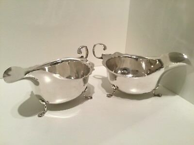 Pair Solid Silver Sauce Boats Chester 1913 by RN GH