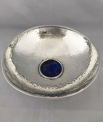 Modern SPANISH Silver Bowl With Inset Stone Arts & Crafts Style