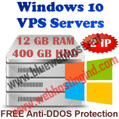 Windows 10 VPS (Virtual Dedicated Server) 12GB RAM + 400GB HDD + DDOS