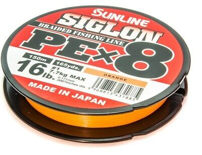 Sunline Siglon PE X 8 Orange Made in Japan 8lb 10lb 20lb 25lb 30lb 150m NEW