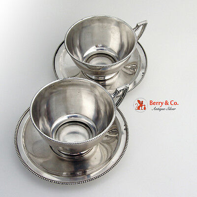 Cups and Saucers 2 Austrian Silver 1900
