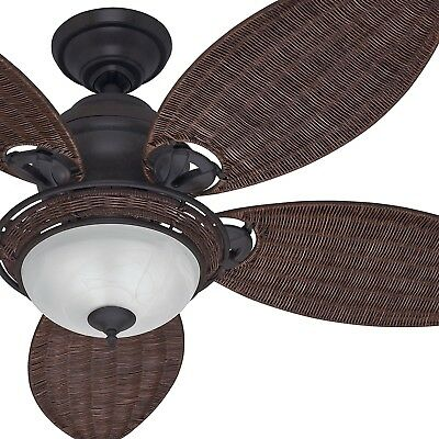 Hunter 54 Tropical Ceiling Fan With Bowl Light Kit In Le Bronze