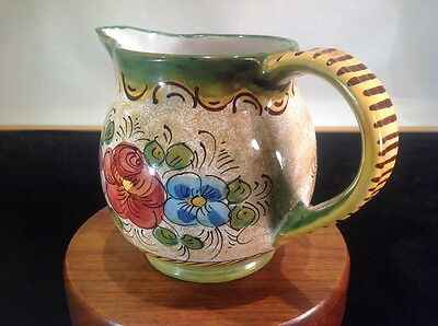 Vintage Ceramic Pitcher Hand Made In Italy Hand Painted & Signed