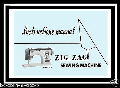 Jones Brother 574 ZigZag Sewing Machine Instructions & Parts List manual Booklet