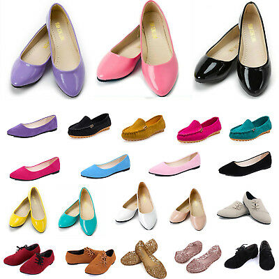 Women Ladies Flat Low Heel Ballerinas Dolly Pumps Casual Summer Shoes Sandals