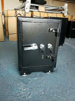 Large Double Key Lock Black Steel Concrete Safe 2 Key Home Office Heavy Duty