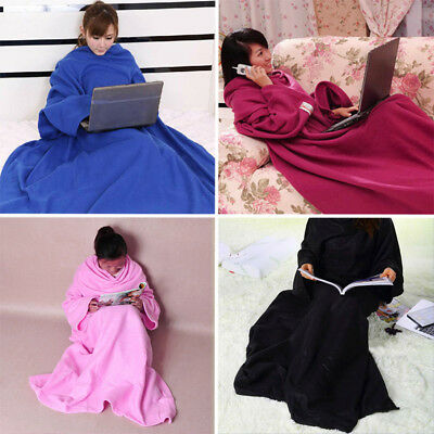 Sleeved Cuddle Blanket Sofa Snuggle with Sleeves TV Fleece Throws Quilt Blankets