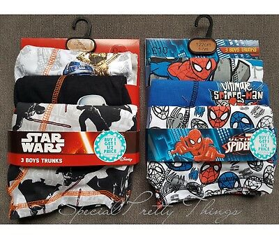 Boys Boxer Shorts 3 Pack Disney Star Wars Marvel Spiderman Trunks Boxer Pants